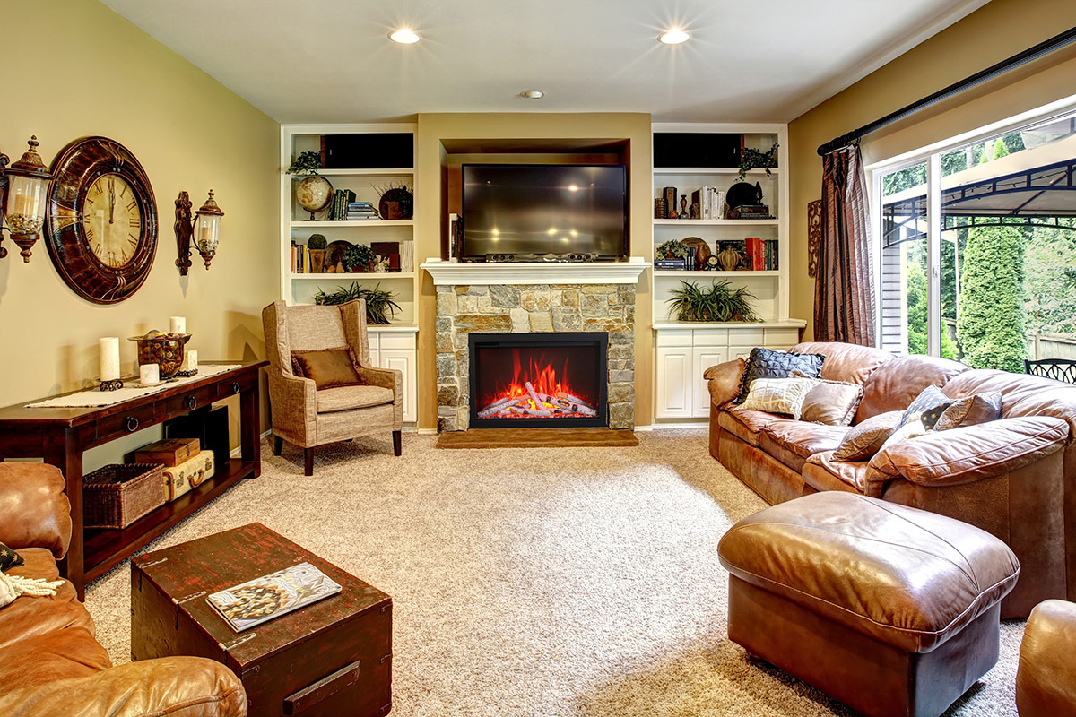 Beautiful living room with fireplace and tv