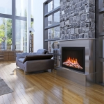 Idea of avant-garde living room with fireplace