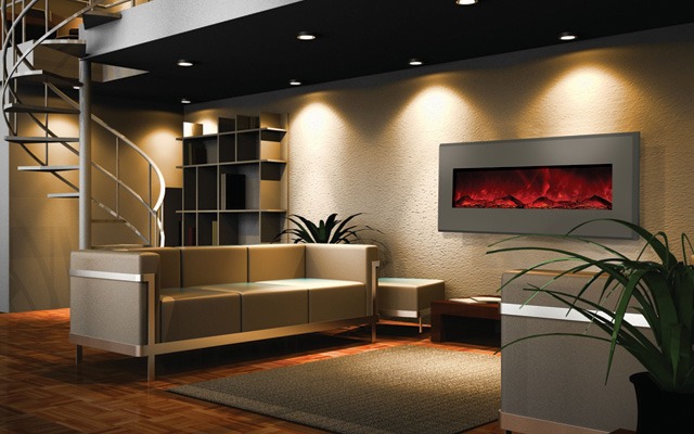 "designer 58"" wall mount built in electric fireplaces"