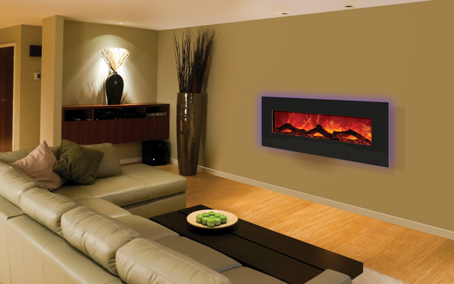 Electric fireplace 43 inches designer beveled edges