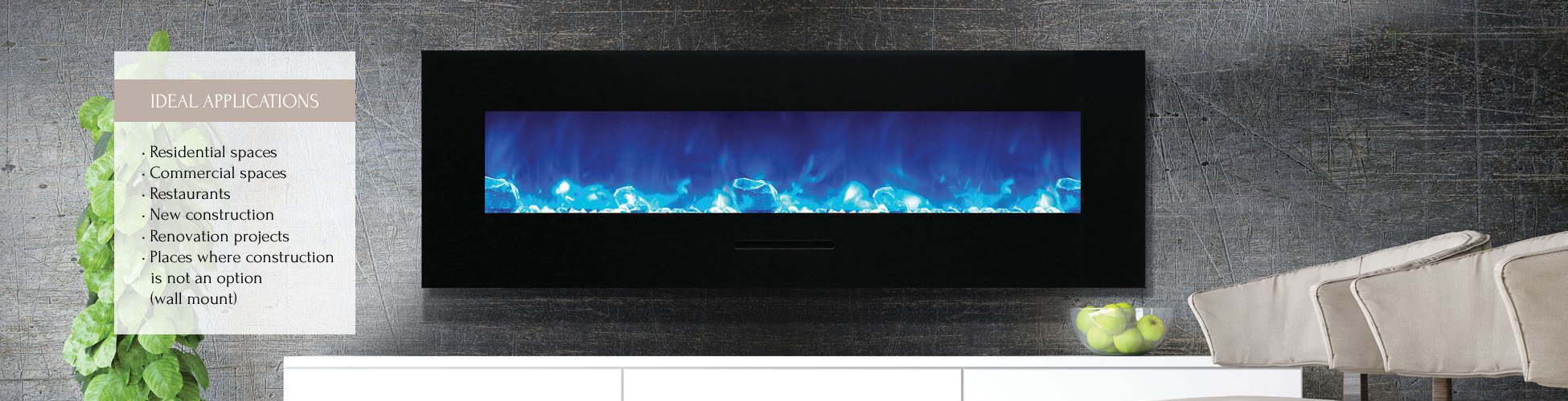 WM-FM-60-7023-BG linear electric fireplace