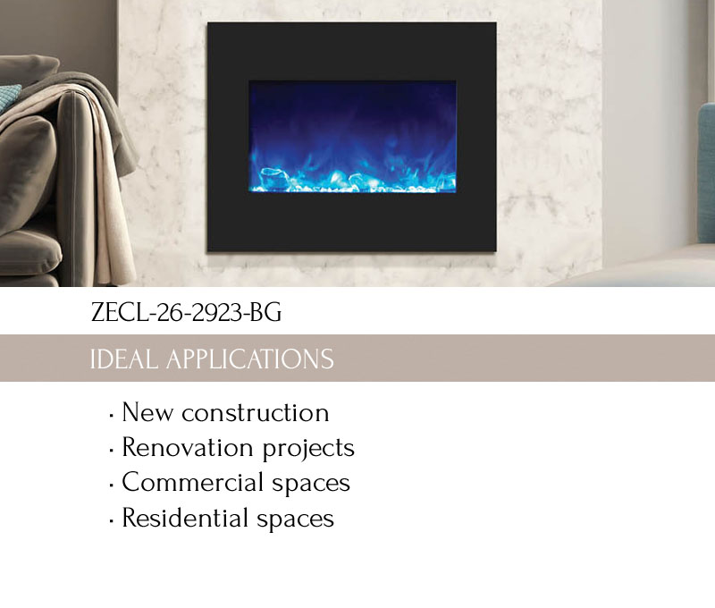 Electric Fireplace ZECL-26-2923-BG