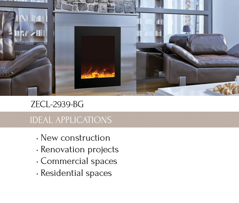 Electric fireplaces ZECL-2939-BG