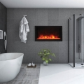 3d rendering modern style bathroom with nice winter view