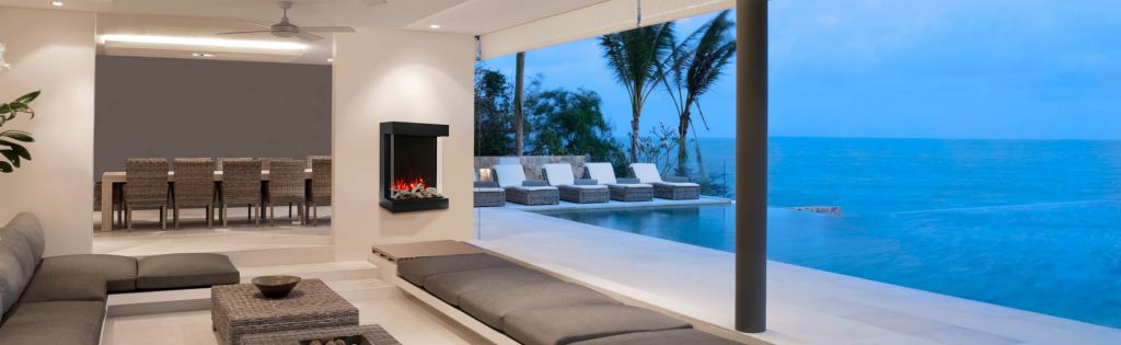 Cube outdoor electric fireplace