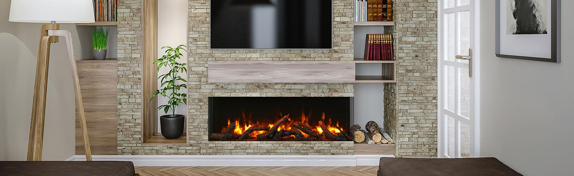 wide electric fireplace