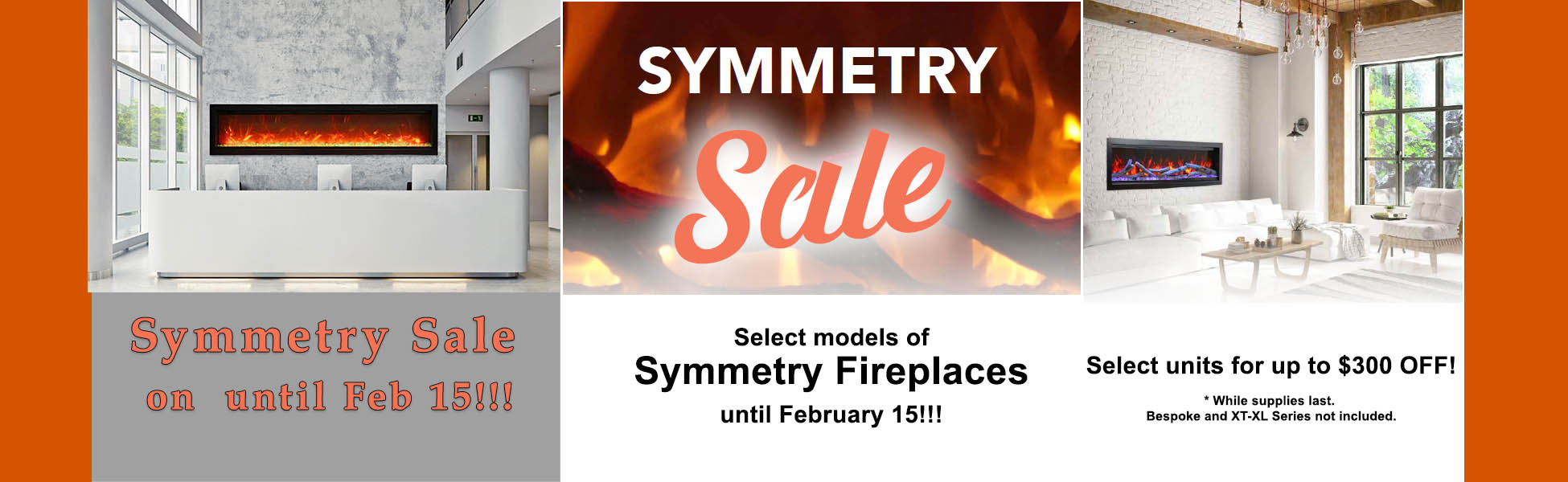 SYM electric fireplaces sale