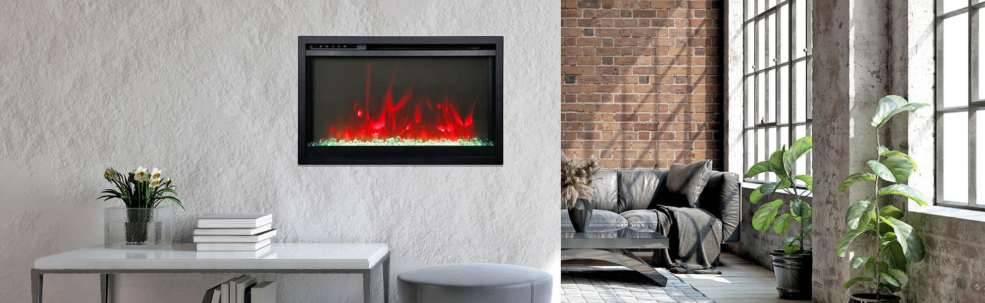 extra slim electric fireplace