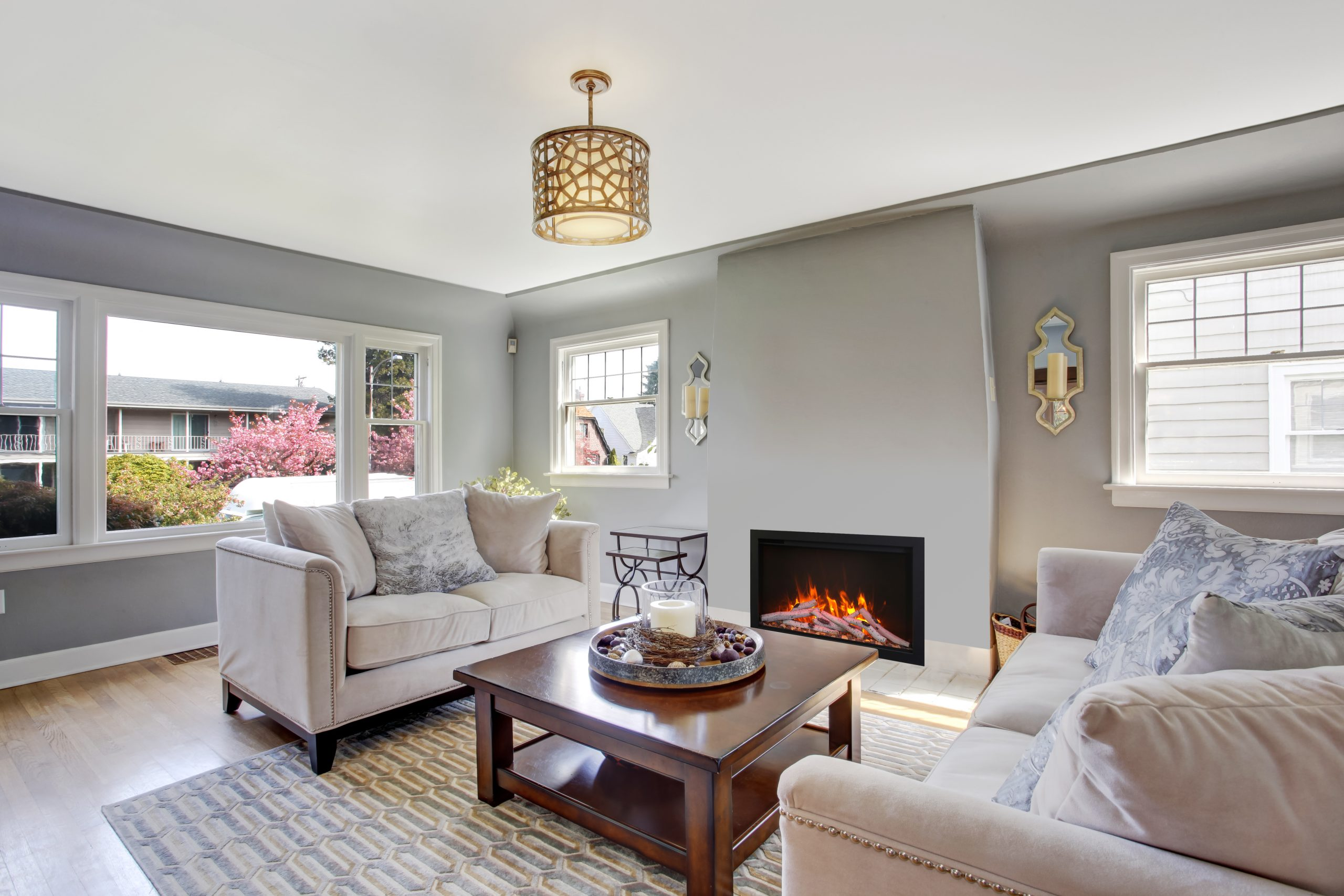 Symmetry TRD Bespoke electric fireplace in living room